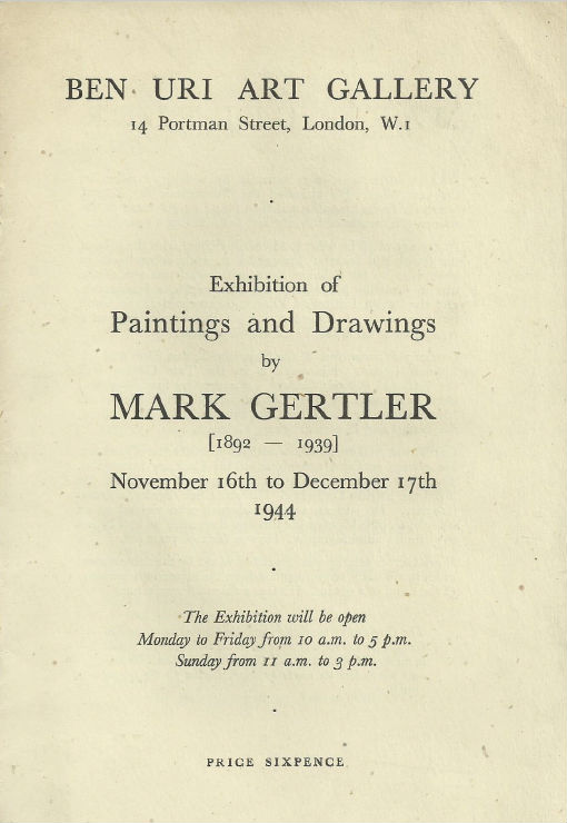 Exhibition of Paintings and Drawings by Mark Gertler (1892-1939)